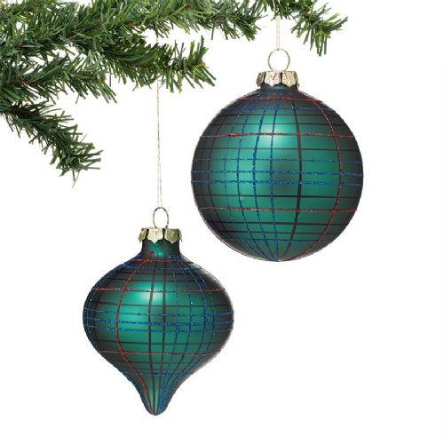 Green Tartan Ornaments Set of 2